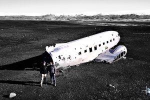 Flugzeugwrack von oben