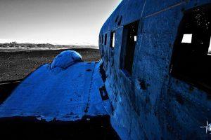 Flugzeugwrack seitlich