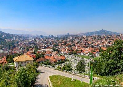 Bei diesem Ausblick von der gelber Bastion Sarajevo...
