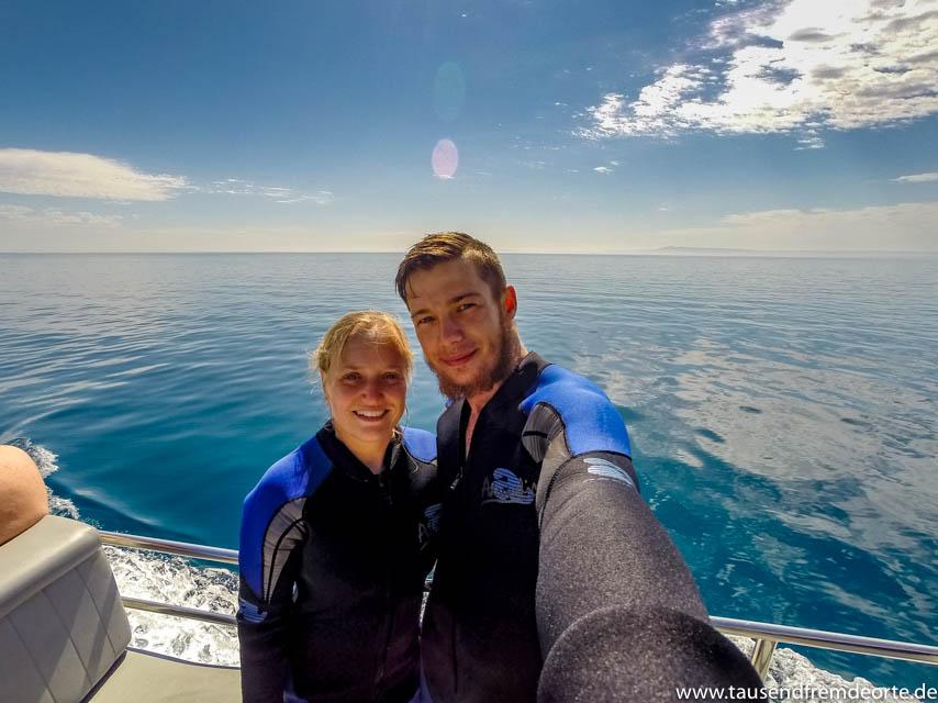 Selfie auf dem Boot in Sorrento